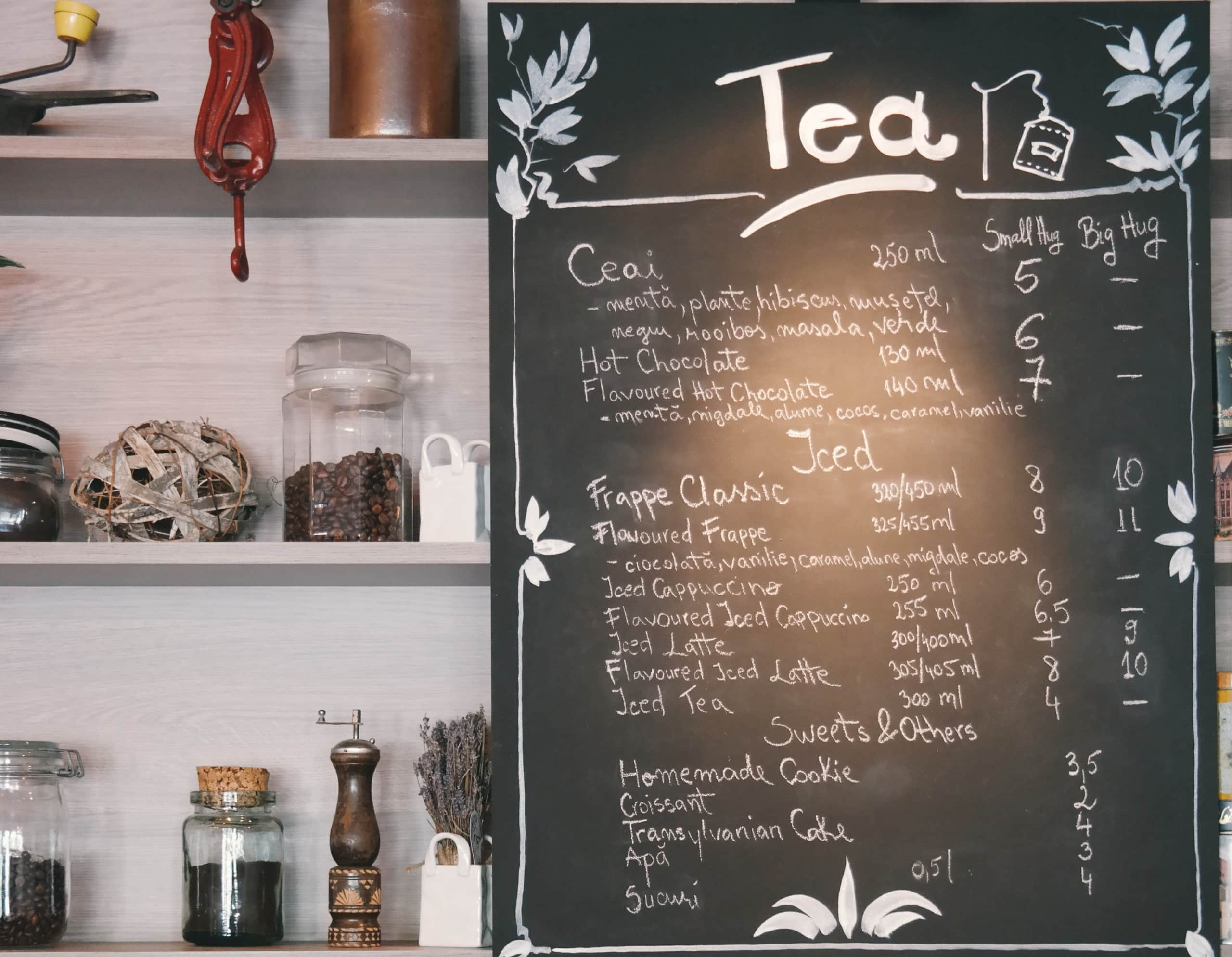 black board with menu